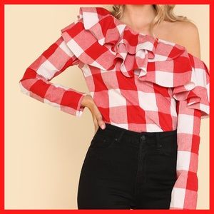 Tops - Off Shoulder Ruffle Top in Red Plaid